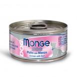 Monge 意大利狗罐頭 鮮味肉絲系列 雞肉+牛肉 95G x 24