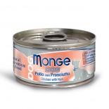 Monge 意大利狗罐頭 鮮味肉絲系列 雞肉+火腿 95G