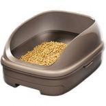 日本花王 - 抗菌除臭雙層貓砂盆 + 木屑砂 + 吸墊 套裝  (朱古力色)