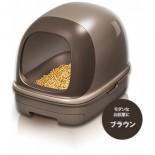 日本花王 - 抗菌除臭雙層有蓋貓砂盆 + 木屑砂 + 吸墊 套裝 (朱古力色)