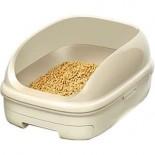 日本花王 - 抗菌除臭雙層貓砂盆 + 木屑砂 + 吸墊 套裝  (象牙色)