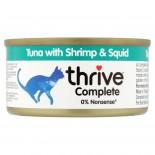 THRIVE 整全膳食100% 吞拿魚+海蝦+墨魚貓罐頭 75G x 12罐原箱優惠